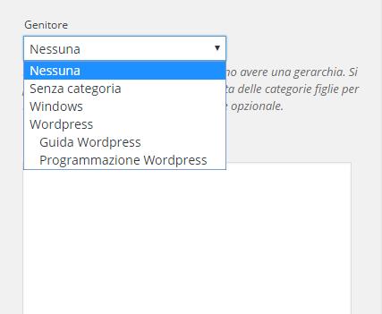 Cosa-sono-le-categorie-genitore-in-Wordpress-selezionare-categoria-Genitore