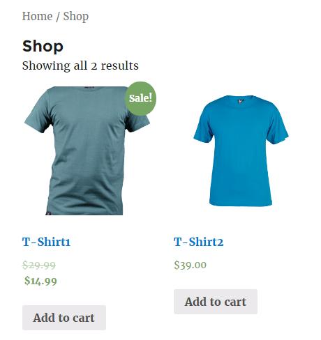 Esempio di sconto applicato nello shop WooCommerce.