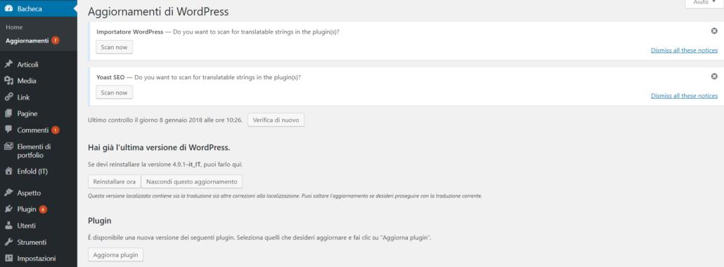 Schermata di aggiornamento tema WordPress.