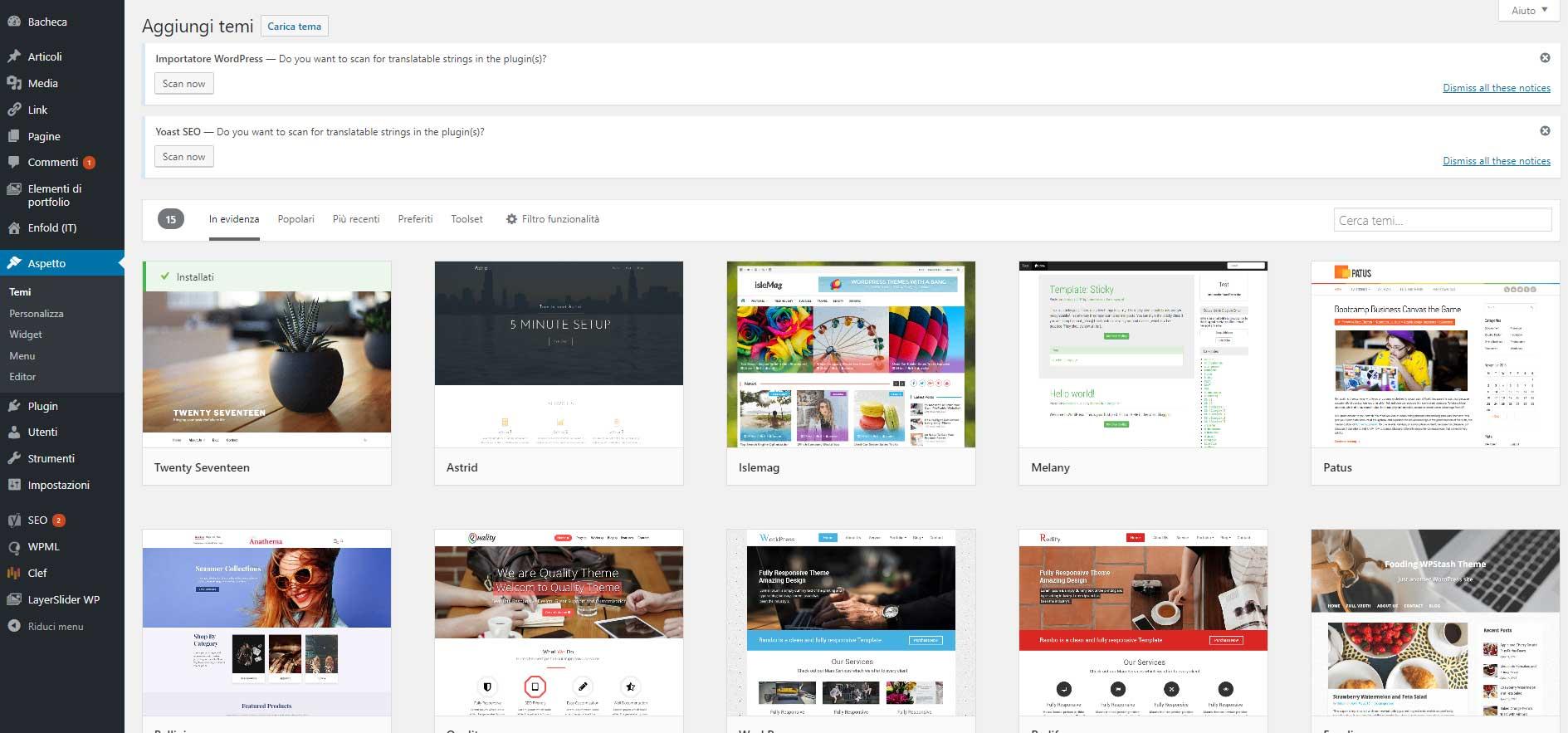 Aggiunta tema gratuito dalla directory di WordPress.