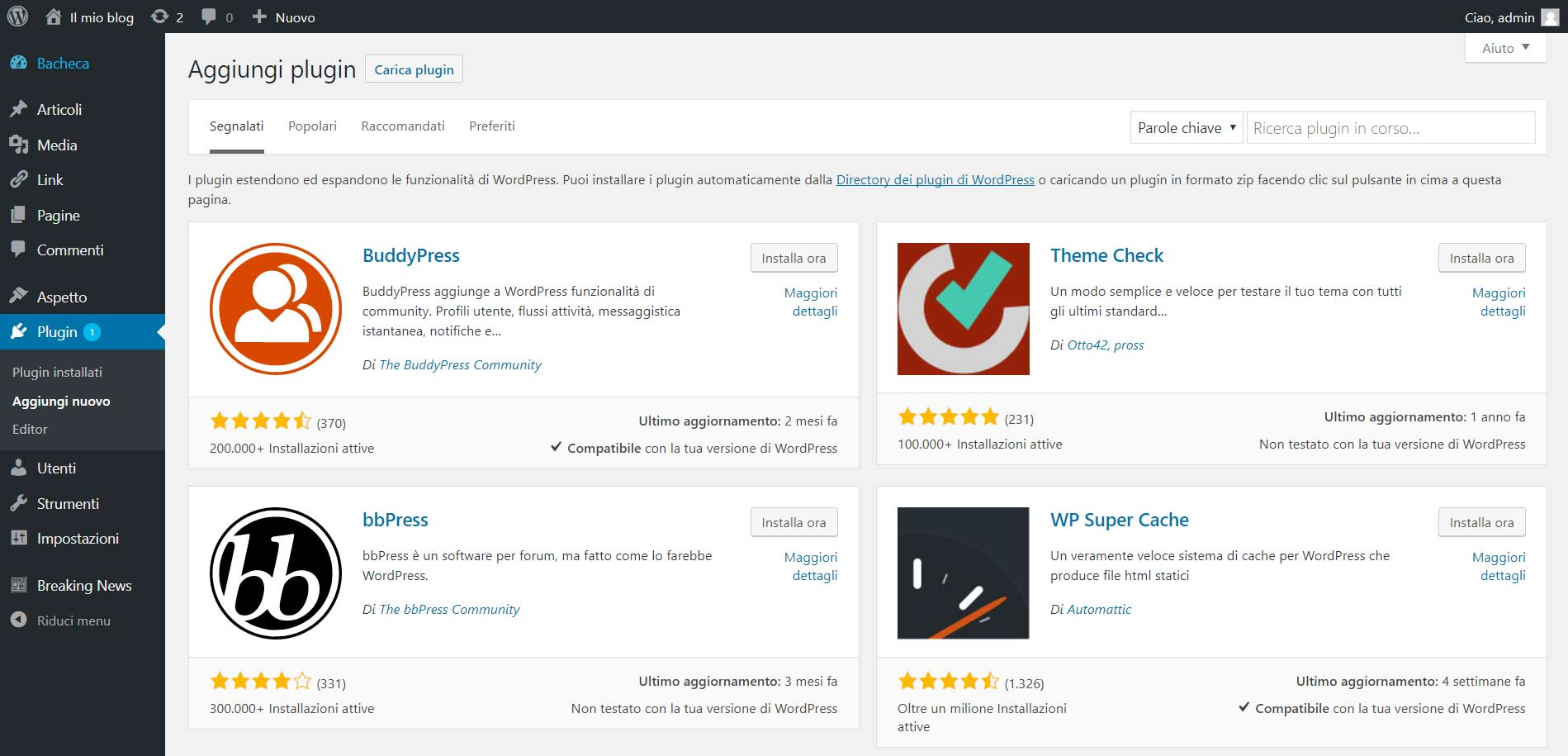 Aggiungi plugin dalla directory di WordPress.