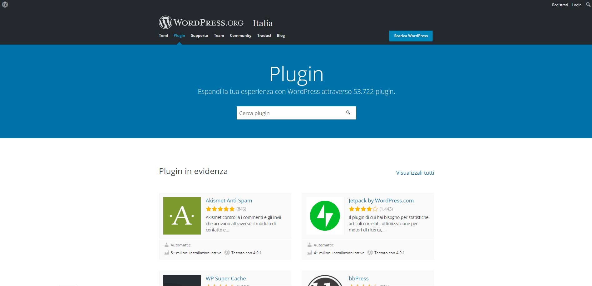 Schermata plugin di wordpress.org