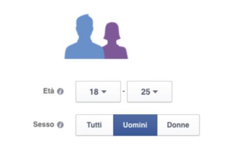 Dati demografici da impostare per la campagna Facebook.