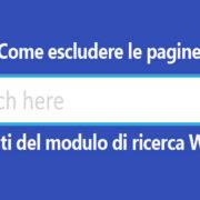 Come escludere le pagine dai risultati del modulo di ricerca Wordpress.