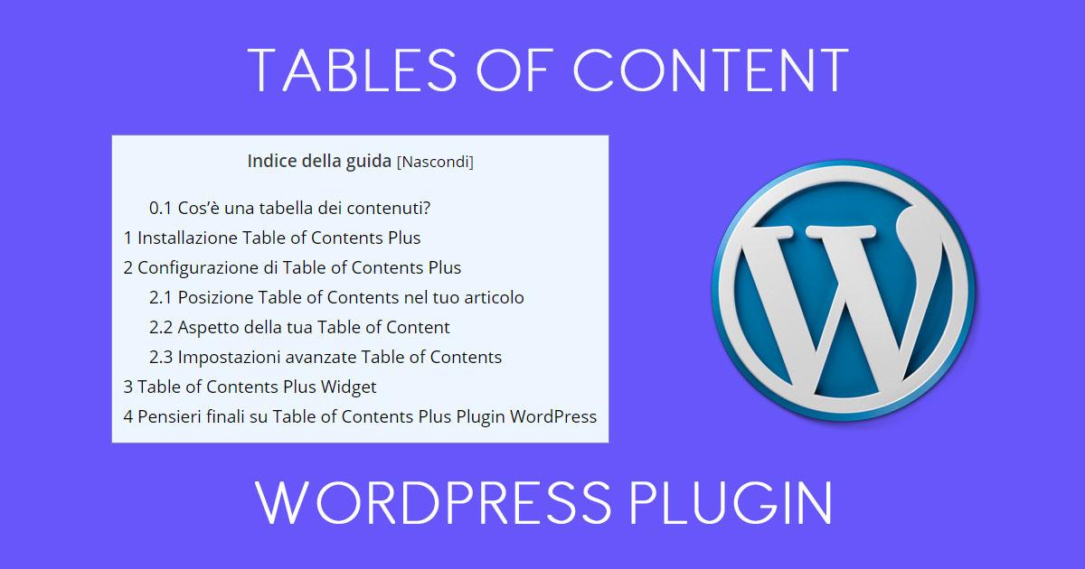 Tables of Content Plugin Wordpress