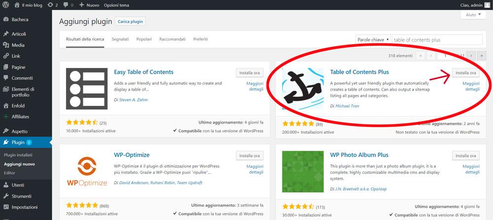 Installazione Table of Contents plugin.