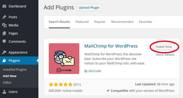 Mailchimp : installazione plugin