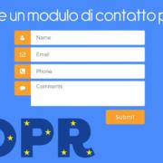 Adeguare un modulo di contatto per il GDPR