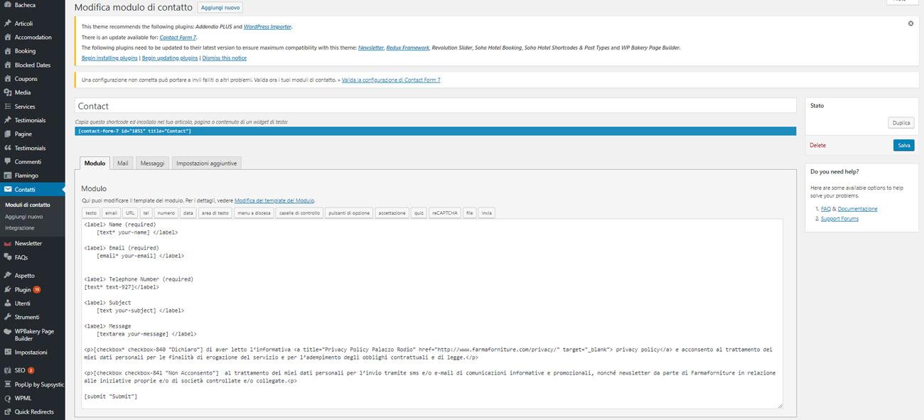 Creare un modulo di contatto su WordPress : creazione modulo CF7