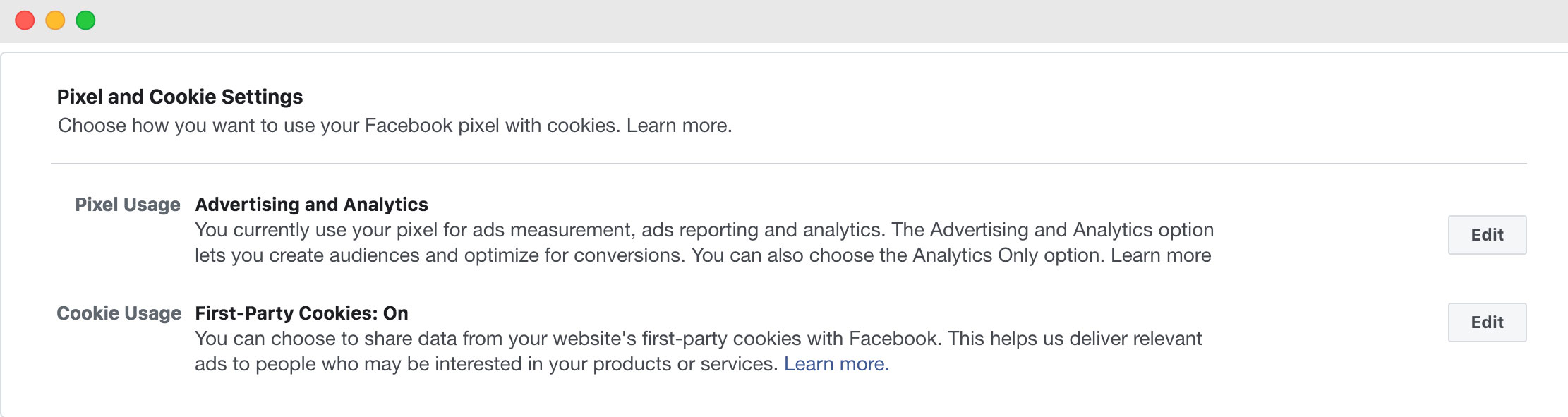 Aggiornamento Cookie Pixel Facebook - impostazioni