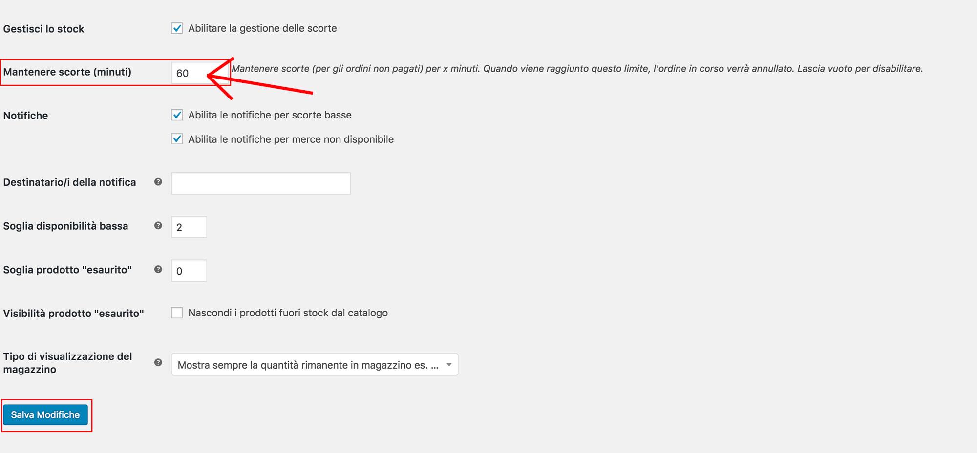 """Risoluzione """"tempo limite raggiunto"""" su WooCommerce: pannello impostazioni WooCommerce"""