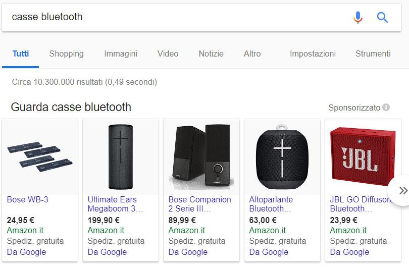 Come funziona Google Shopping : lista prodotti
